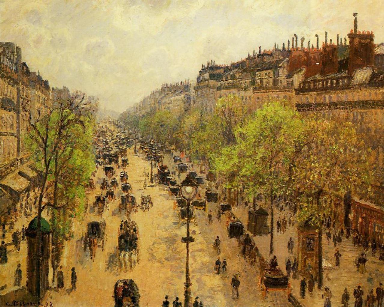 Бульвар Монмартр весной