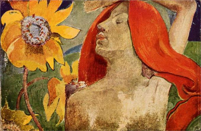 Рыжеволосая женщина и подсолнухи