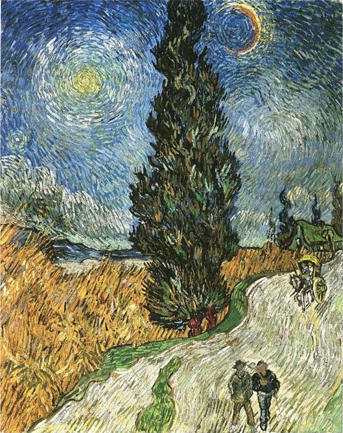 Дорога с кипарисами и звездой. Ван Гог