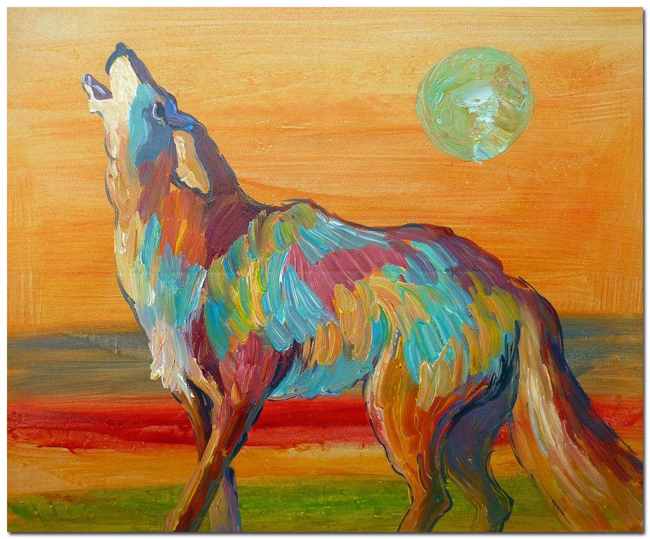 Современной-абстрактной-волк-портрет-маслом-импрессионизм-не-оформлена-