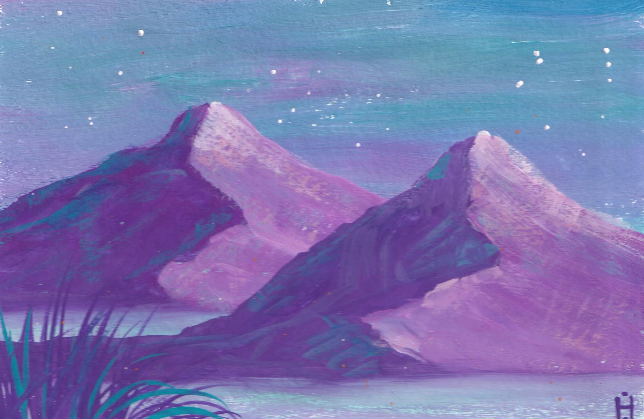 Горы рисунок гуашью